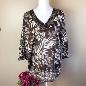 Alfred Dunner beaded floral shirt